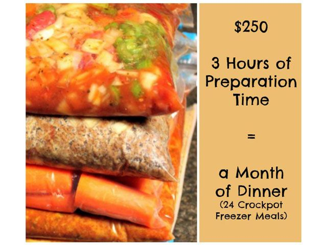 Great ideas! Find out how to cook a month's worth of dinners in just 3 hours with this easy Crock-Pot freezer meal plan (it costs just $250!).