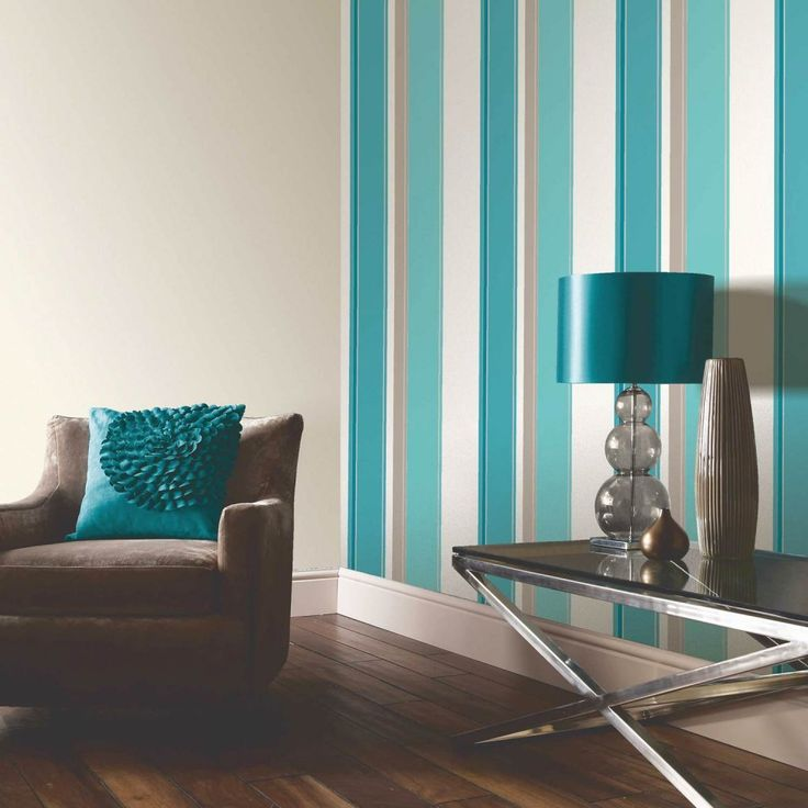 Arthouse Opera Carina Striped Wallpaper Teal / Cream / Beige Part 40