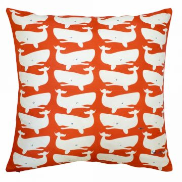White whales on red pillow in cotton-linen. Fun paired with red whales on white pillow!
