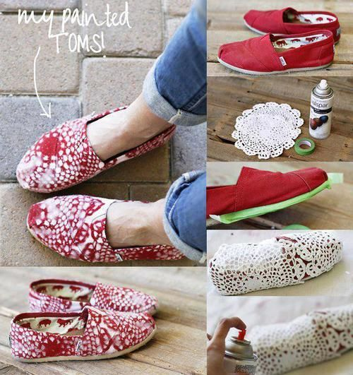 Classic TOMS spray-painted with doily