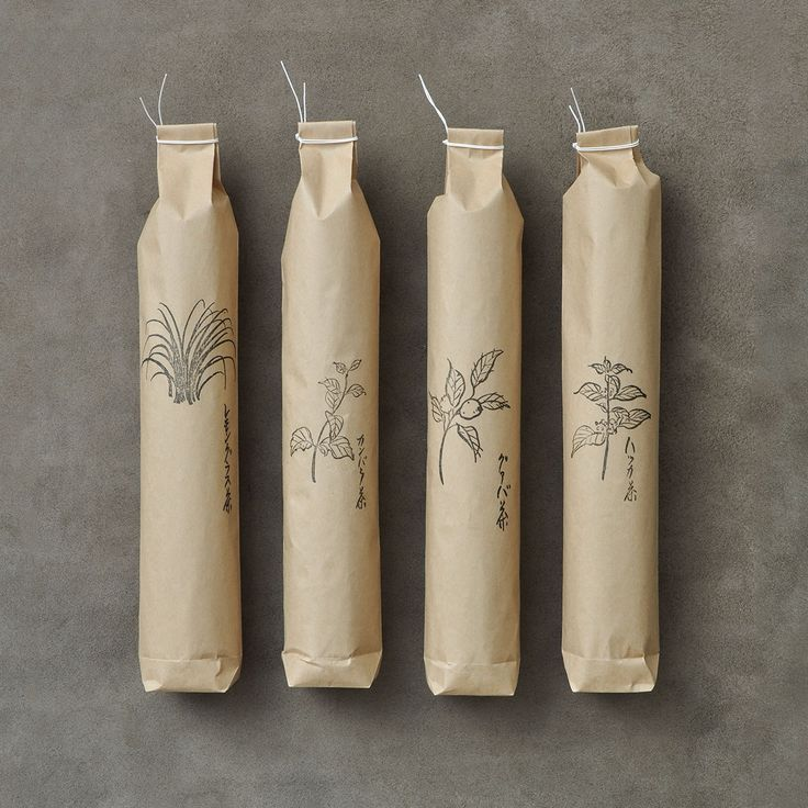 Tea packaging: lemongrass, kanbara (a member of the lantana family), guava and spearmint. // Jurgen Lehl for Babaghuri