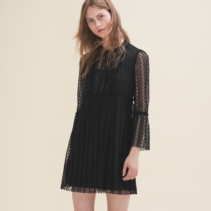 Maje Flowing dress with dotted Swiss