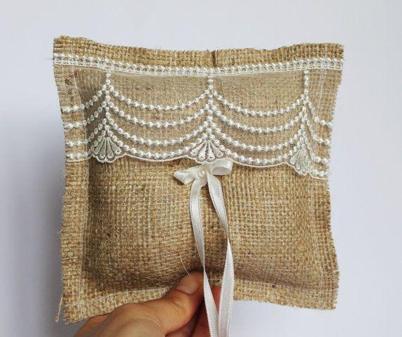 burlap ring bearer / ring pillow / rustic by cornerofthegarden, $16.90