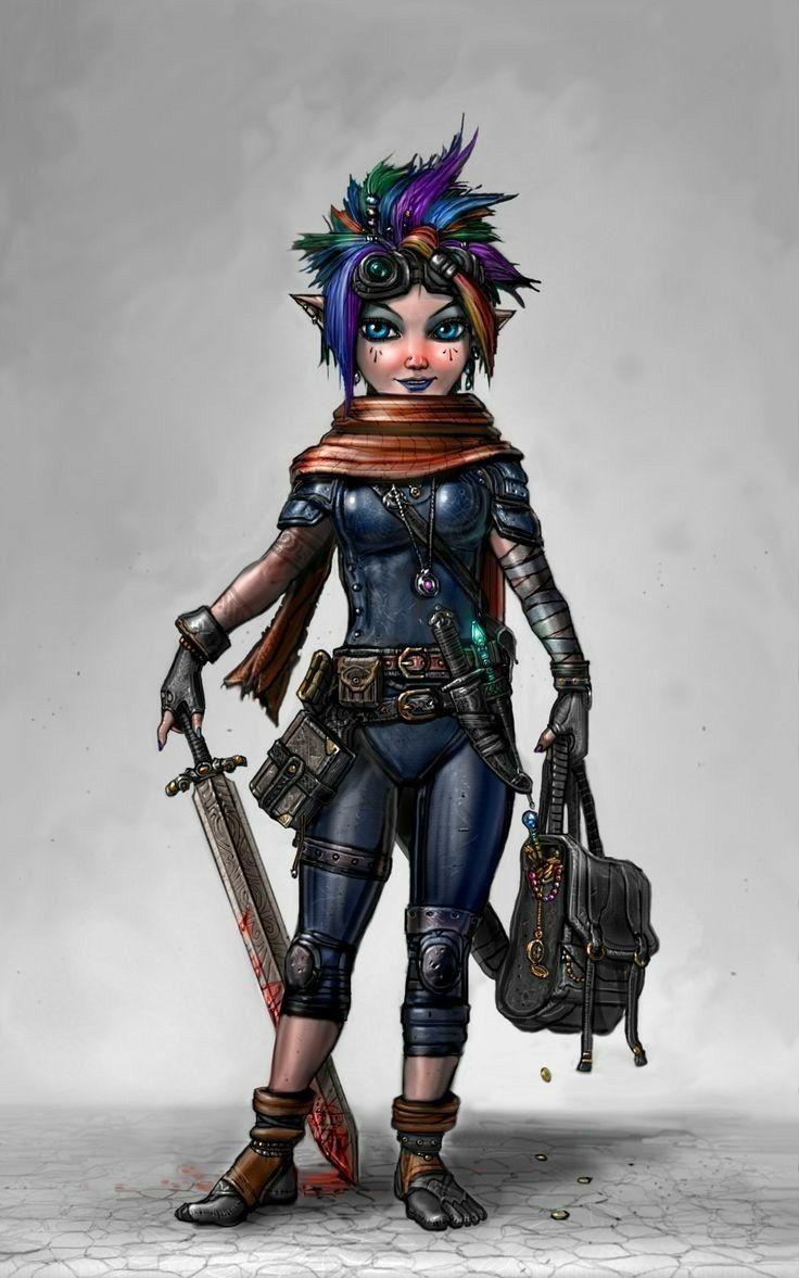 Gnome 4: F Gnome Rogue Arcane Trickster Leather Armor Cloak Sword