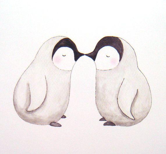 Kissing Penguins Illustration Print Black & White Soft by mikaart, $7.99