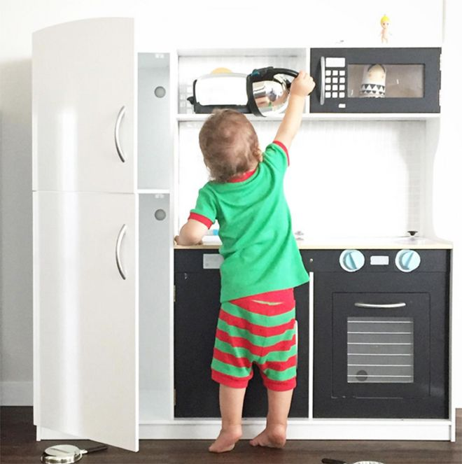 Monochrome fun - the best hacks of the Kmart Kids Kitchen.