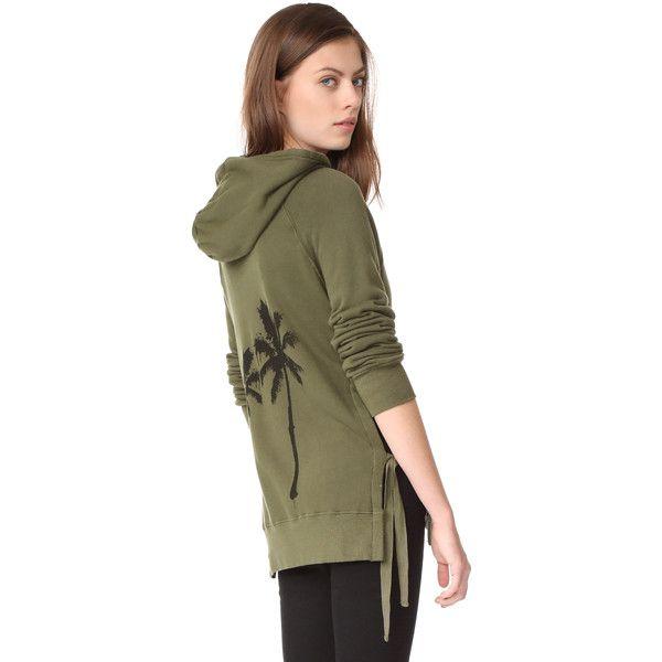Pam & Gela Zip Up Hoodie (259 AUD) ❤ liked on Polyvore featuring tops, hoodies, olive, brown zip up hoodie, lightweight zip up hoodie, zip up hoodies, hooded zip up sweatshirt and long sleeve hooded sweatshirt
