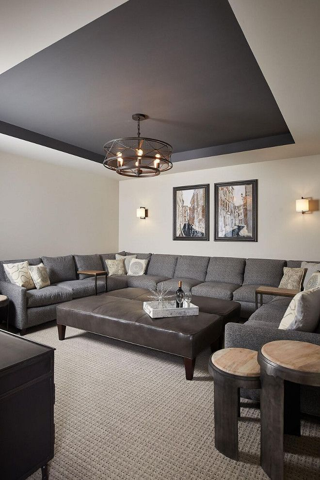 Basement Paint Color: Walls are Benjamin Moore Revere Pewter and the tray ceiling is Benjamin Moore Kendall Charcoal.