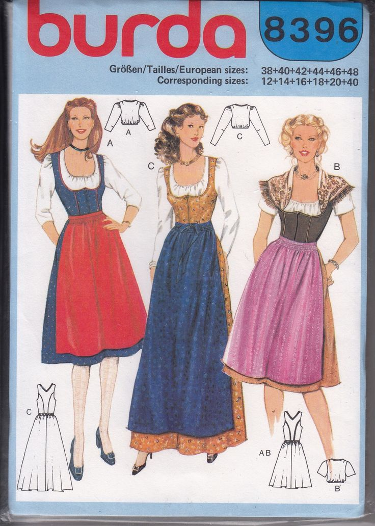 Misses German Bavarian Dirndl Dress Apron Blouse Sewing Pattern Burda