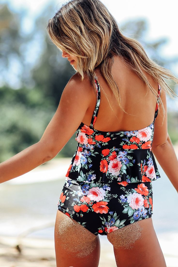 Slim Seam Bottoms – Beverly Swimwear floral swimsuit. bikini cut bottoms. Modest high waist bikini
