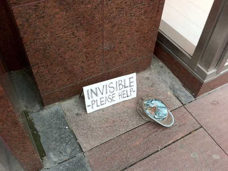 mad. invisible panhandler.