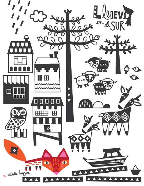 MICHELLE KORYZMA - Chile -  Gráfica para Textil Austral, empresa creada por la chilena Andrea Rubilar.