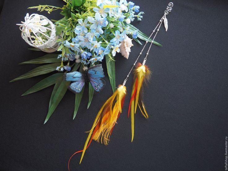 Купить Вспышки на солнце - яркий кафф с длинными перьями в стиле бохо - перья, перо