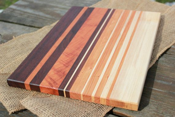 Wood cutting board – handmade walnut cherry & maple striped serving board, cheese plate, chopping block, charcuterie board, butcher block