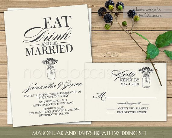 Eat Drink & Be Married Rustic Wedding Invitation Printable Mason Jar Floral Wedding Suite Rustic Wedding Digital Template with RSVP DIY Set by NotedOccasions