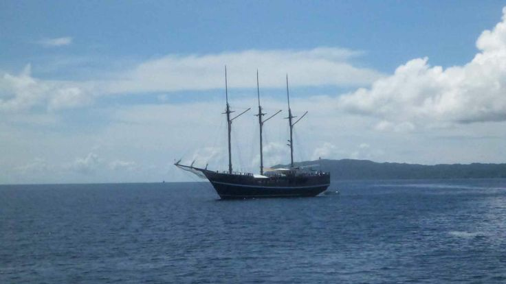 Live aboard, Raja Ampat Marine Reserve, Papua. Sadly I heard they rarely put the sails up (apart for a photo shoot on the last day) - kind of defeats the purpose, as well as being massively pretentious!