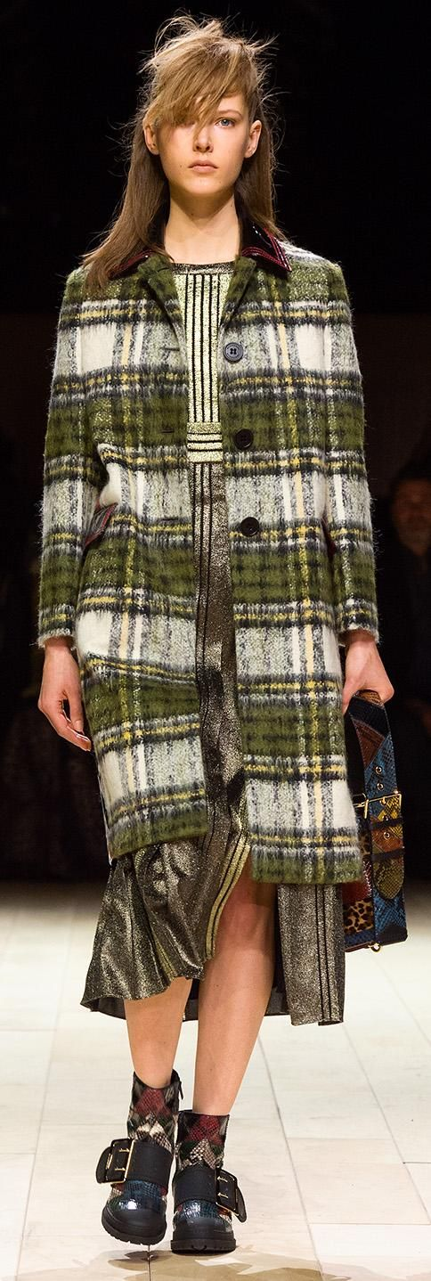A single-breasted Burberry coat in brushed tartan mohair is worn over a pleated metallic green lamé dress and teamed with The Patchwork and The Buckle Boot for the Womenswear February 2016 show