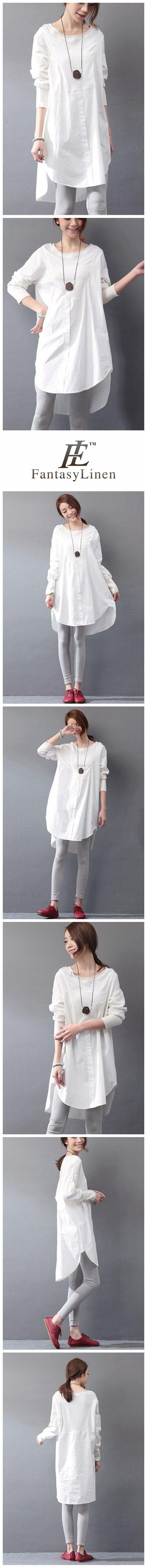 Cotton White Dress Women Clothes SC604