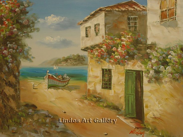 Oil Paintings : Boat by the Beach Oil Painting