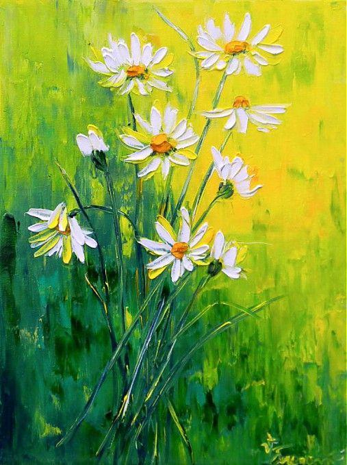 Olejomaľba na plátne. Obraz maľovaný špachtľou.