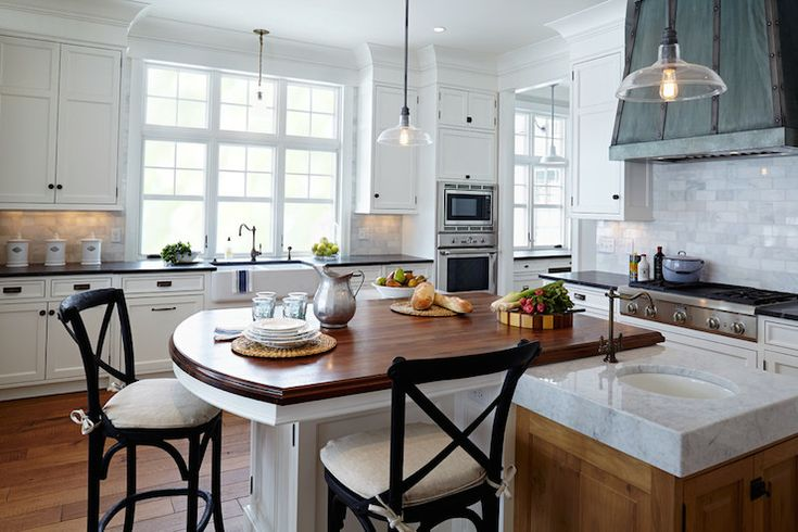 Gorgeous kitchen with white perimeter cabinets accented for White kitchen cabinets with oil rubbed bronze hardware