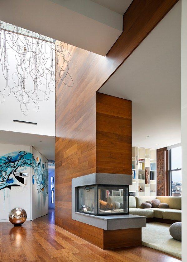 Apartamento com Jardim Incrível na Cobertura-sala de estar com lareira