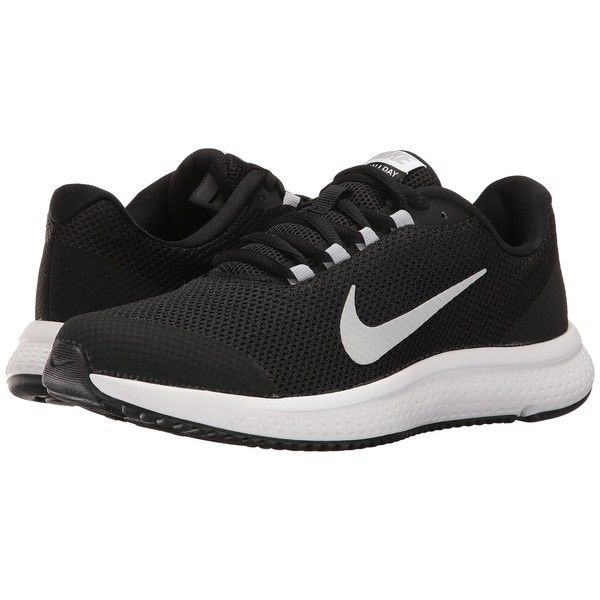 Nike RunAllDay (Black/White/Wolf Grey) Women's Running Shoes ($70) ❤ liked on Polyvore featuring shoes, athletic shoes, nike, grey shoes, breathable running shoes, cushioned running shoes and athletic running shoes