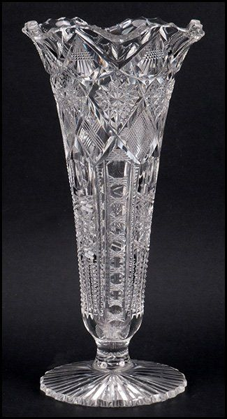 LIBBEY BRILLIANT CUT TRUMPET FORM VASE. : Lot 1242131