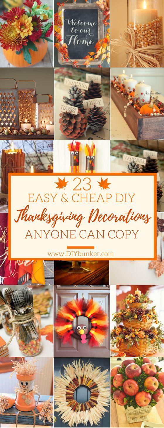23 Thanksgiving DIY-Dekor, das Sie günstig machen können   – Hosting Thanksgiv…