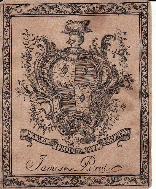 James Perot, Franco American Bermudian Booklate,early 18th c.