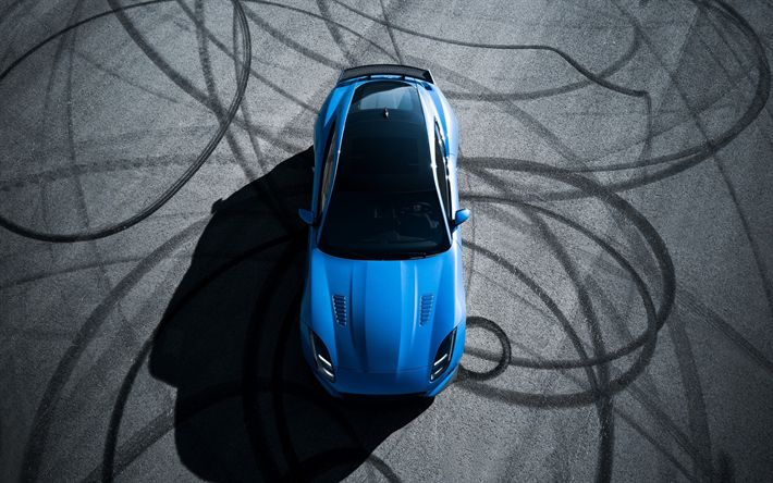 Download wallpapers Jaguar F-Type, 2017, top view, sports coupe, drift, racing track, British sports cars, Blue F-Type, Jaguar