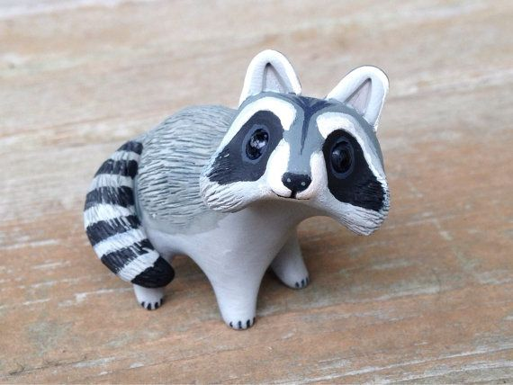 Raccoon: Handmade miniature polymer clay animal by AnimalitoClay