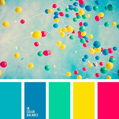 Está basada en una combinación veraniega de colores azul celeste, verde y frambuesa. Gracias al amarillo vivo y fuerte dicha paleta llega a ser calmante y equilibrada. Es una excelente opción para cuartos de juegos infantiles y salones espaciosos. Tales colores aportarán creatividad y alegría a tu hogar.