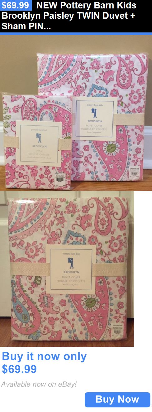 Kids Bedding: New Pottery Barn Kids Brooklyn Paisley Twin Duvet + Sham Pink BUY IT NOW ONLY: $69.99