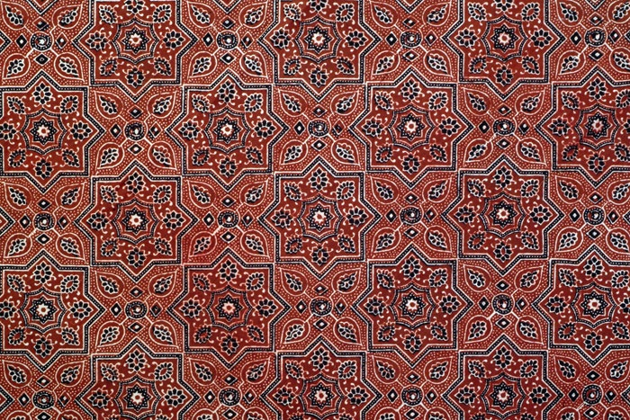 Block printed ajrakh (Picture courtesy Anokhi Museum of Hand printing)