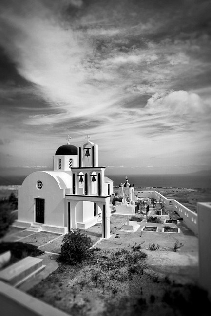 Black and White Photo of a church with bells in Santorini, Greece