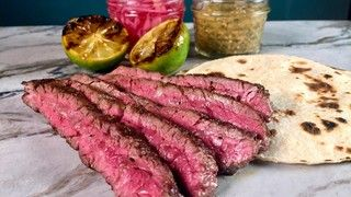 Grilled Skirt Steak with Charred Tomatillo Salsa Recipe | by Michael Symon- The Chew - ABC.com