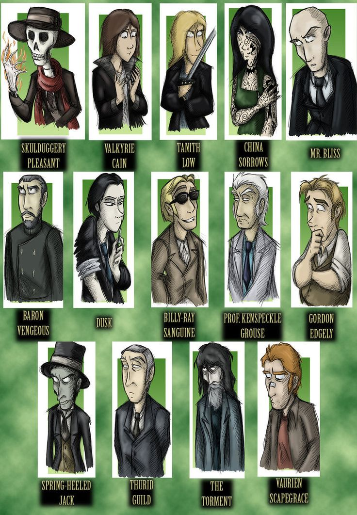 Skulduggery Pleasant Playing with Fire characters :D