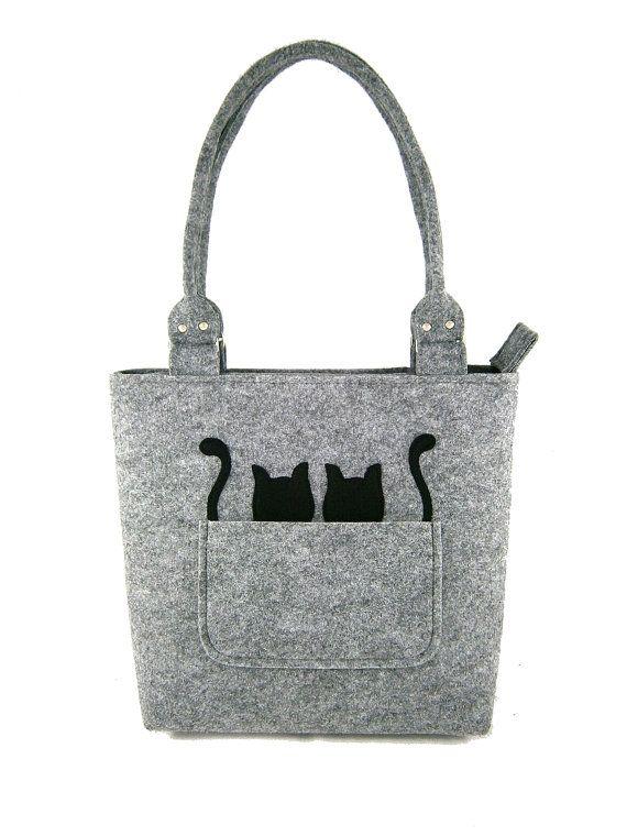 Cats handbag Felt purse Bag for women Gray bag by Torebeczkowo, #Catshandbag