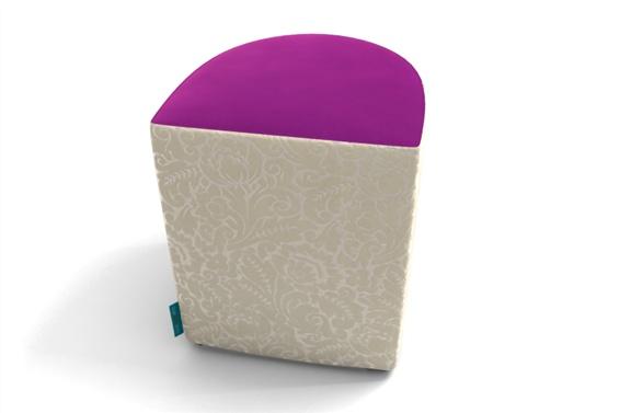Luna Stool in Plain Orchid and Design Damask Amande
