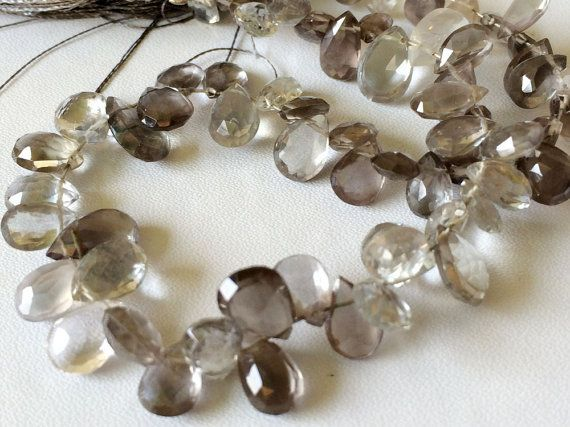 Grey Moonstone Faceted Pear Beads Rare Grey by gemsforjewels