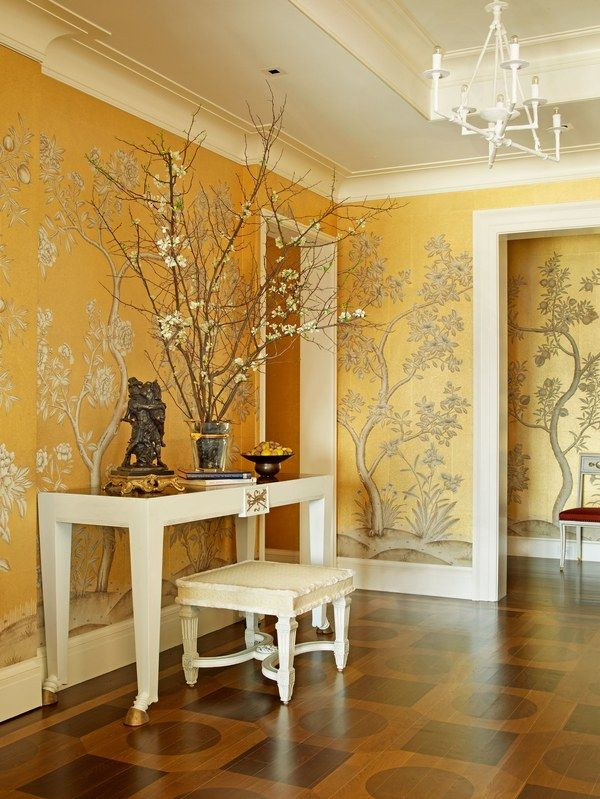 Alex Papachristidis employed wallpaper with a botanical motif to enliven this entrance hall | archdigest.com