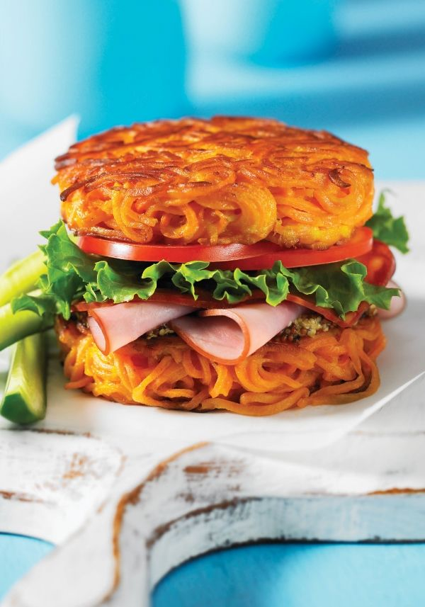 1. Spiralized Sweet Potato Bun  #greatist http://greatist.com/eat/vegetables-that-replace-carb-heavy-foods