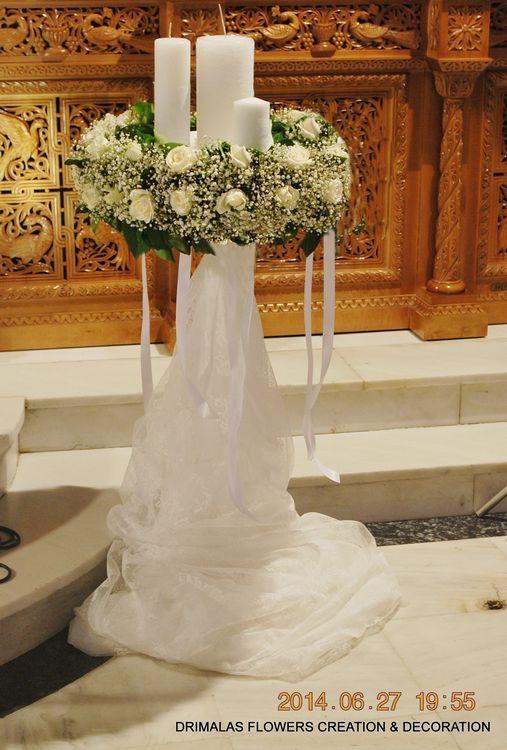 στολισμος λαμπαδας γαμου με γυψοφυλλη
