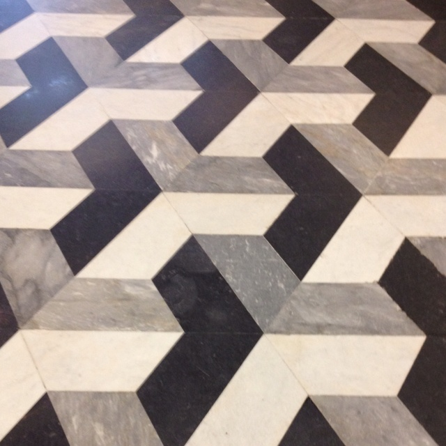 Floor at NYU library.  When you go to top floor of Bobst and look down it becomes an optical illusion