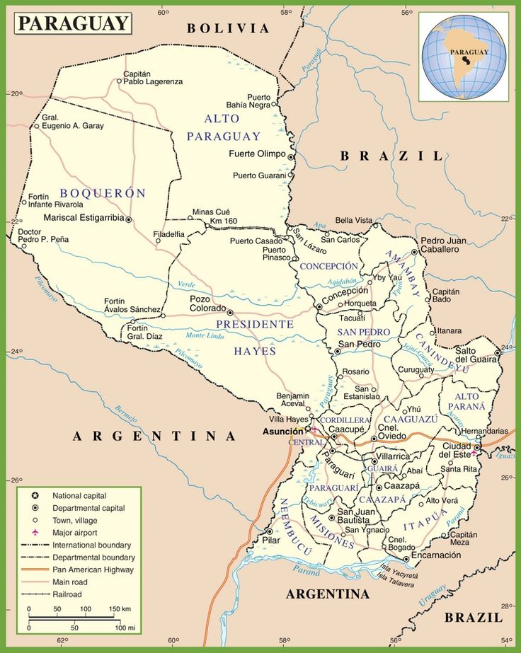 Paraguay road map Maps Pinterest