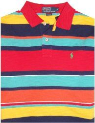 #Men's Polo By Ralph #Lauren Short Sleeve #Polo Shirt Red/Aqua/Multicolored Stripes Size Medium from etrendzshop.com