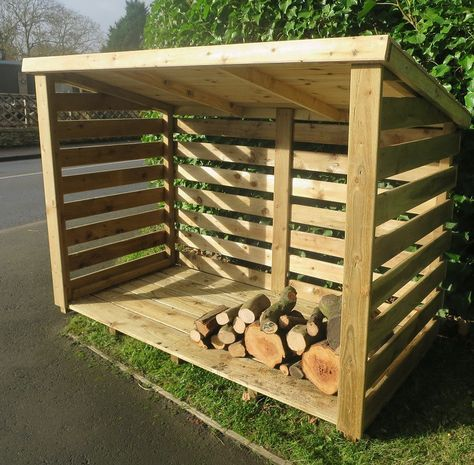 Custom made log store from planed timber.