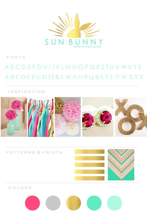Tanning Studio Logo - Gold Foil Logo - Sun Bunny Branding - Summer Color Palette - Mood Board - Inspiration Board - Style Board - Rabbit Logo - Feminine Branding - Tanning Logo - Mobile Tanning Logo - Spray Tan - Branding Board