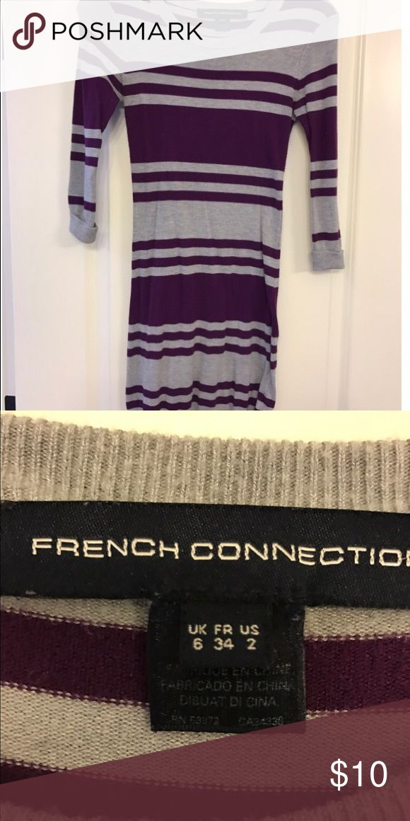 French connection striped knit dress Super cute fitted knit dress, lightweight. Can be worn as dress or over leggings. French Connection Dresses